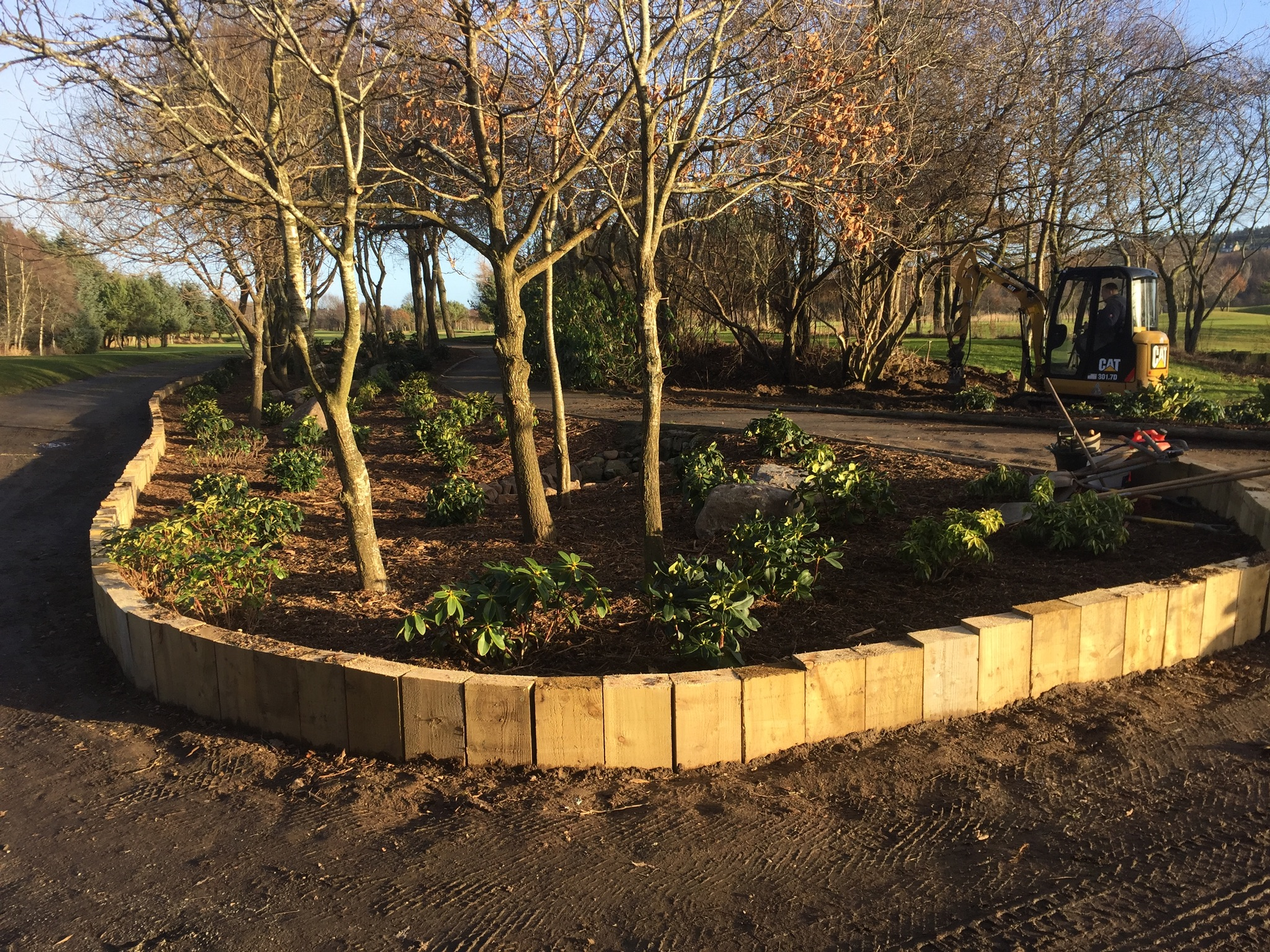 New shrub bed at 4th tees.